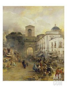 Street in Naples (Porta Capuana), 1875 Giclee Print by Oswald Achenbach at Art.com