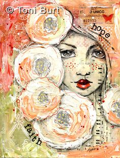 hope, faith - mixed media art piece from my art journal. Old vintage epemera, sheet music, papers, acrylic paint and ink. Pencil sketch face, art journaling.