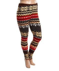 Love this Red & Brown Mixed Media Leggings - Plus on #zulily! #zulilyfinds