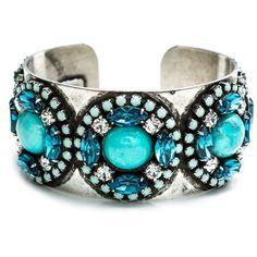 DANNIJO Jovi (1.455 DKK) ❤ liked on Polyvore featuring jewelry, bracelets, accessories, pulseiras, pulseras, dannijo jewelry, cuff bangle, blue jewelry, oxidized jewelry and oxidised jewellery