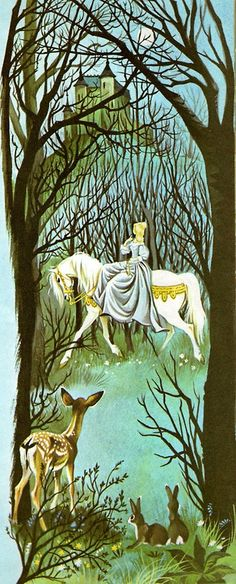 """Illustration by Janet and Anne Grahame Johnstone for """"Beauty and the Beast"""", from 'A Book of Fairy Tales'-1977.  Love the fawn!"""