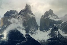 #Patagonia, The snow-capped Cuernos on a cloudy Patagonian day http://www.ecocamp.travel/Tours/Patagonia-Paine-Circuit