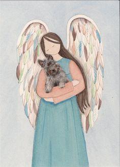 Cairn terrier acunada por angel / Lynch firmado impresión de