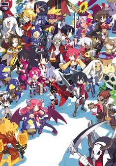 the entire Disgaea 3 cast. official art by Takehito Harada.