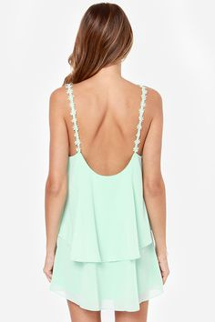Double-layer mint green chiffon shift dress with daisy straps and low scoop back