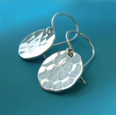 Sterling Silver Hammered Earrings Small - Pool - by esdesigns on Etsy