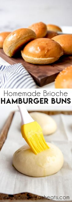 Forget the sad store-bought buns and make these golden Homemade Brioche Hamburger Buns for your next BBQ or cookout. They are made with eggs and butter for a rich flavor and perfect for pulled pork sa Bread Machine Recipes, Bread Recipes, Cooking Recipes, Easy Cooking, Easy Recipes, Receta Pan Brioche, Brioche Recipe, Brioche Bread, Brioche Rolls
