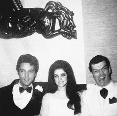 Elvis and Priscilla Presley with friend, Gary Pepper, at their second wedding reception held at Graceland, May 29, 1967.