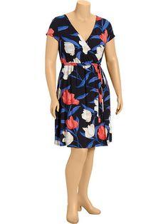 Women's Plus Wrap-Front Jersey Dresses Product Image
