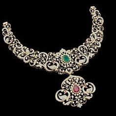 Diamond Necklaces, Diamond Jewelry, Trendy Jewelry, Fine Jewelry, Indian Gowns Dresses, Gold Wedding Jewelry, Jewellery Designs, Jewelery, Simple