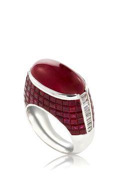 18 K White Gold Diamonds And Burma Ruby Ring by SABBADINI (=)