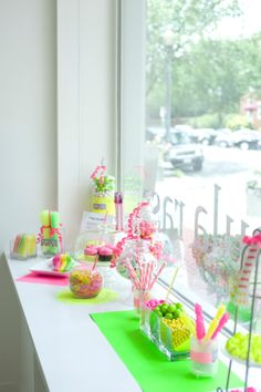 Neon Wedding Dessert table.