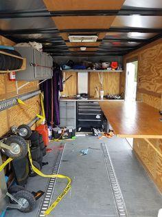 Karting, Trailer Shelving, Trailer Storage, Toy Hauler Camper, Work Trailer, Trailer Organization, Tire Rack, Enclosed Trailers, Cargo Trailers