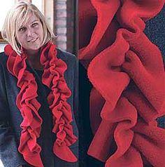 Ruffle Scarf - Red Ruffle Scarf, Red Scarves, Scarf Wrap, Wraps, Knitting, Fashion, Moda, Tricot, Fashion Styles