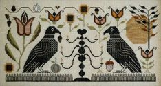 A striking picture of two ravens with stylised flowers and trees.