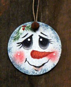 Handpainted wooden ornament snowman face by KathysKountry on Etsy, $9.00