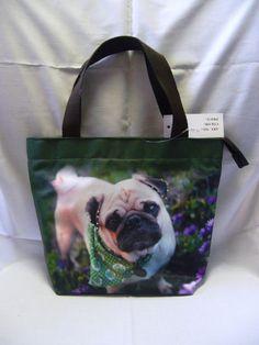 Dog Puppy Pet Pug Green Scarf Purse Handbag BAG261 NEW