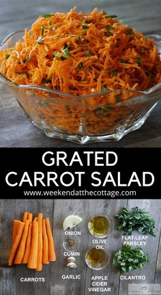 Grated carrot onion parsley cilantro tossed in a garlic cumin apple cider and olive oil dressing. This simple healthy salad is pleasantly sweet and refreshing. It's an easy to make salad that can be made ahead of time. Grated Carrot Salad, Carrot Slaw, Carrot Salad Recipes, Healthy Salad Recipes, Vegetarian Recipes, Cooking Recipes, Fast Recipes, Vegetable Sides, Vegetable Recipes