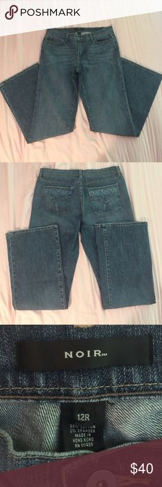 """White House Black Market Noir Bootcut Jeans White House Black Market Noir Bootcut Jeans .. EUC Only wore a few times. Size:12R (33.5"""" inseam) col: Medium Wash .. These jeans have a light stretch to them & are very comfortable. I just have way too many jeans!! White House Black Market Jeans Boot Cut"""
