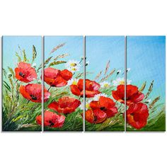 DesignArt 'Poppies in Field against Blue Sky' 4 Piece Painting Print on Wrapped Canvas Set