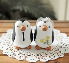 Wedding Cake Topper  Penguins  Medium by RedLightStudio on Etsy, $120.00