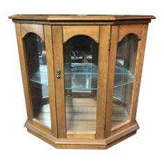 Lighted mirrored wood and glass curio display case. Been in family since A few scratches and nicks. Display Cabinet Lighting, China Cabinet Display, Corner Curio, Minimalist Closet, Makeover Before And After, Home Storage Solutions, Small Cabinet, Glass Figurines, Cabinet Makeover