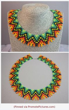 Huichol collar Huichol necklace Huichol jewelry Mexican beaded collar Multicolor beaded collar Mayan beaded collar Huichol art Gift-for-her The multicolor beaded collar is designed in the style of the Huichol motive. Huichol - Indian people living in western and central Mexico. The collar will become a wonderful gift for anyone. --> Collar size: - length: 17.3 inches (44 centimeters) - width : 0.6 inches (1.5 centimeters)