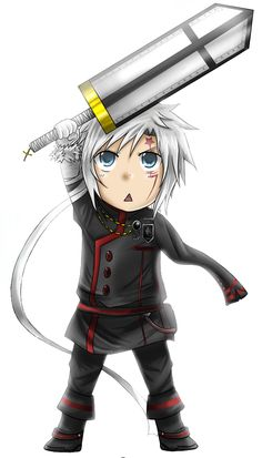 Render D Gray Man - Renders D Gray man DGM Allen Walker Chibi Epee manteaux uniforme Evil Usagi