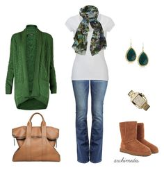 The Last Cold Day of Winter by archimedes16 on Polyvore featuring polyvore, fashion, style, MANGO, White Stuff, True Religion, UGG Australia, 3.1 Phillip Lim, Rain, Michael Kors, Lily and Lionel, bootcut jeans, top handle bags, long cardigans, casual, boots, printed scarves, ugg, camel, green and white tees