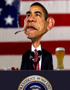 This is a manipulated caricature of Barack Obama. Obama is always fun to caricature so if I can't decide who to caricature, I can always fall back on hi. Hail to the Thief Funny Caricatures, Celebrity Caricatures, Pike Art, Marlboro Red, Famous Cartoons, Portraits, Weird Pictures, Humor, Funny Faces