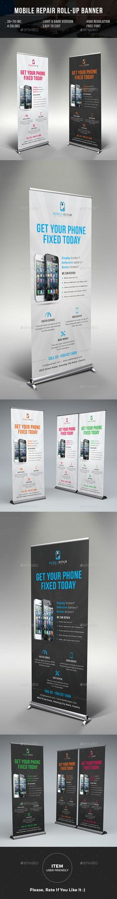 PSD Smartphone Repair Service Roll Up Banner Template • Only available here ➝ http://graphicriver.net/item/smartphone-repair-service-roll-up-banner/16452536?ref=pxcr
