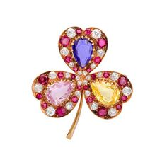 Betteridge: Betteridge Collection Tri-Color Sapphire Clover Brooch with Ruby & Diamond