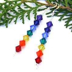 Chakra Rainbow Yoga Earrings, Handmade Swarovski Crystal Spirals Dangle Jewelry @shadowdog #chakra #rainbow #yoga #earrings #jewelry #ButterflysPin - $25.00