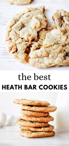 This heath bar cookie recipe is so so yummy! a definite holiday cookie staple. With toffee bits and milk chocolate bits all folded into a brown sugar cookie! Heath Cookies Recipe, Heath Bar Cookies, Toffee Cookie Recipe, Toffee Cookies, Best Cookie Recipes, Cookie Bars, Heath Bar Dessert, Brown Sugar Cookie Recipe, Recipe Using Toffee Bits