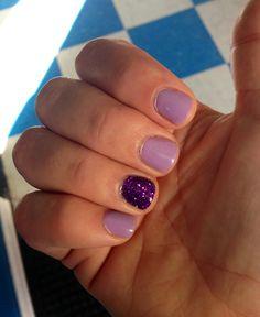 Purple & glitter gel nails