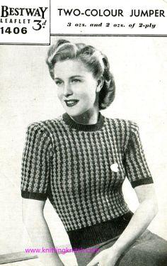 Vintage Knitting Pattern PDF 1950s 2 Color by Knittingknitch