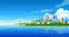 Города - Рисованный город - живые обои