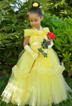 Tutu Dress - Yellow - Princess Belle - 3-4 Toddler Girl