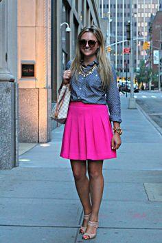 polka dot chambray + pink skirt