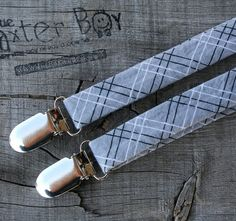 Grey diagonal plaid little boy matching suspenders - photo prop, wedding, ring bearer, accessory