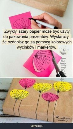 Jak ładnie zapakować prezent? - Zwykły, szary papier może być użyty do pakowania prezentów. Wystarczy,  że ozdobisz go za pomocą kolorowych wycinków i markerów.