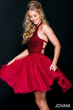Burgundy Beaded Fit and Flare Homecoming Dress 47510A
