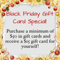 Buy a Gift Certificate at Blaze Salon on Black Friday or Small Business Saturday ($50 or more) and receive a $15 gift card FREE!! #BlazeSalon @Blaze Salon #BoutiqueBuzzz #GiftCard #Gift #StockingStuffer #WestChester #shopsmall #shoplocal #SmallBusinessSaturday #BlackFriday