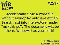 "Life Hacks) Accidentally close a Word file without saving?asd into file explorer under ""my/this pc"".Accidentally close a Word file without saving?asd into file explorer under ""my/this pc"". 100 Life Hacks, Simple Life Hacks, Useful Life Hacks, Life Tips, Things To Know, Good Things, Computer Help, Computer Tips, Life Hacks Computer"