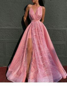 Sparkly A-line Spaghetti Straps Modest Long Prom Dresses Elegant Prom Dress Evening Gowns - Pink Dresses - Ideas of Pink Dresses V Neck Prom Dresses, Cute Prom Dresses, Elegant Prom Dresses, Prom Outfits, Ball Dresses, Pretty Dresses, Beautiful Dresses, Sexy Dresses, Summer Dresses