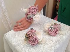 Handcrafted wrist corsages by Michele knibbs #muscariwhites www.muscariwhites.co.uk