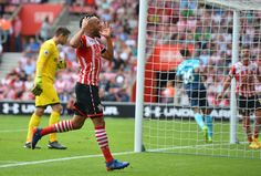 Southampton's English midfielder Nathan Redmond misses misses an open- goal during the match at home to Swansea City