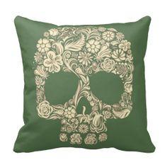 Khaki Green and Ivory Sugar Skull