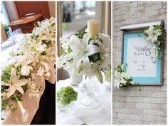 [ 会場装花:ハッピーピンク ]純白の大輪のユリ「カサブランカ」やすらっとした茎が美しいカラーを使った格調高い会場装花。 メインテーブルも白とグリーンだけでまとめて凛とした雰囲気を演出。 ゲストテーブルはガラスのキャンドルスタンドにお花をたっぷり生けてゴージャスな雰囲気に。