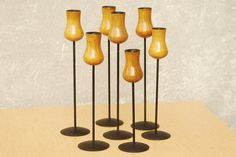 I Like Mike's Mid Century Modern - LONBORG DANISH WOOD AND IRON TALL CANDLE HOLDERS, SET OF 7